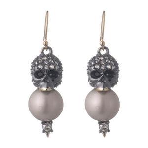 Alexis Bittar Vanitas Crystal Pearl Skull Earrings
